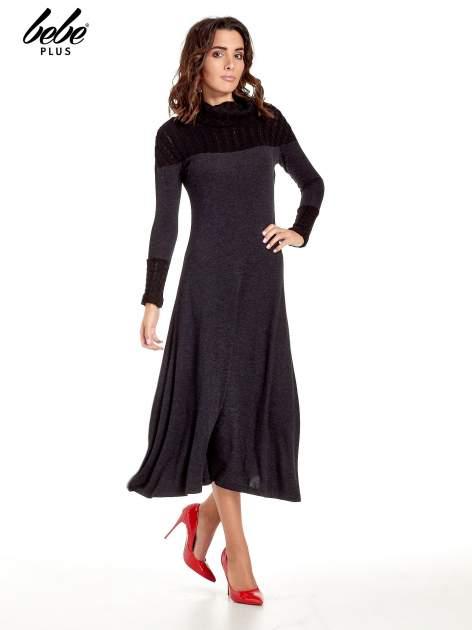 Dzianinowa sukienka maxi z warkoczowym golfem