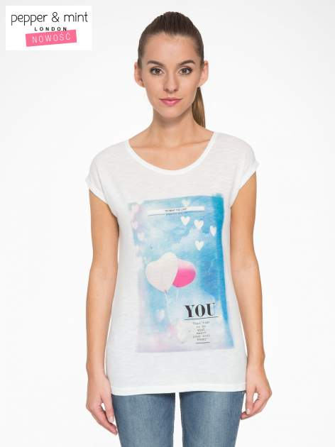 Ecru t-shirt z fotografią balonów