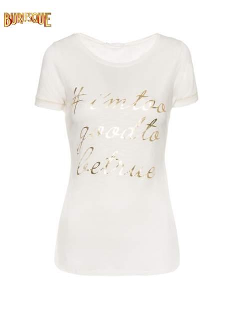 Ecru t-shirt ze złotym hasztagiem