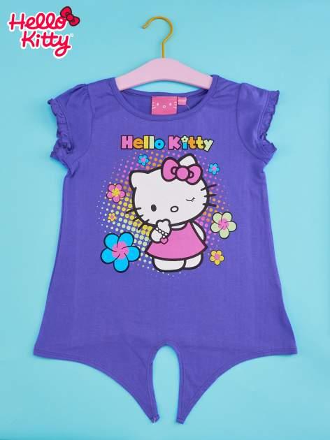 Fioletowy t-shirt dla dziewczynki HELLO KITTY z wiązaniem na dole