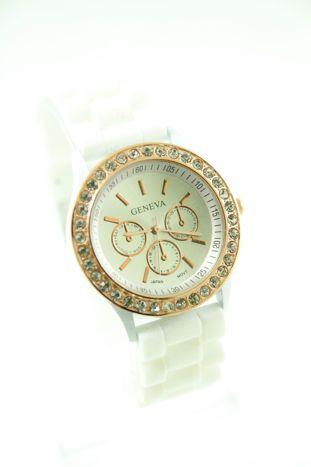 GENEVA Biały zegarek damski z cyrkoniami na silikonowym pasku