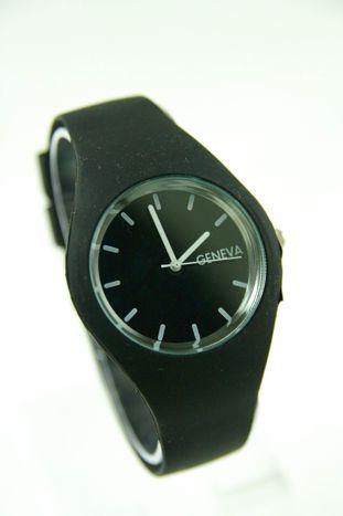 GENEVA Czarny zegarek damski na silikonowym pasku