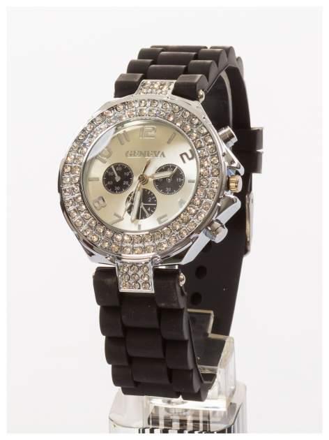 GENEVA Czarny zegarek damski z cyrkoniami. Wygodny silikonowy pasek