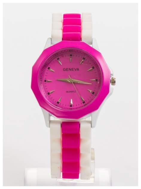 GENEVA Różowo-biały zegarek damski na wygodnym silikonowym pasku