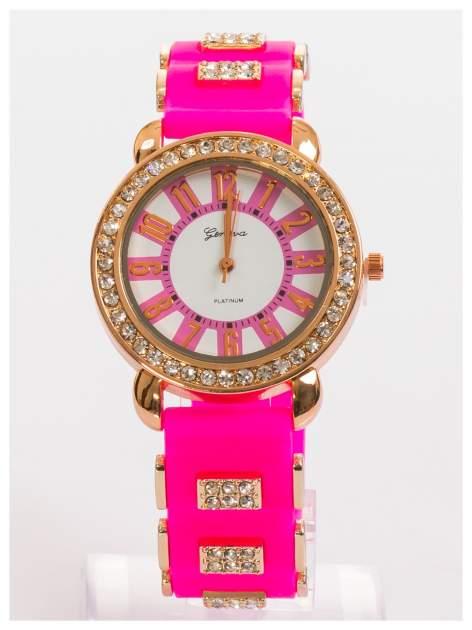 GENEVA Różowy zegarek damski z cyrkoniami na silikonowym pasku