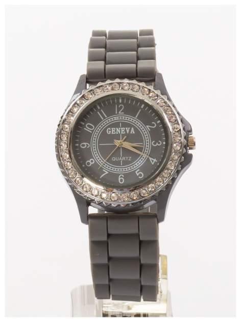 GENEVA Szary zegarek damski z cyrkoniami na silikonowym pasku