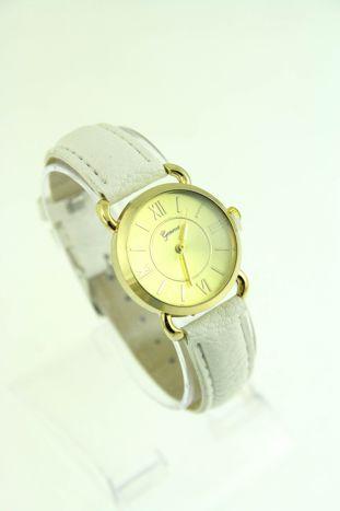 GENEVA Złoty zegarek damski na białym, skórzanym pasku