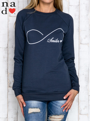 Grafitowa bluza z napisem SMILER