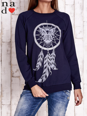 Granatowa bluza z motywem sowy i łapacza snów