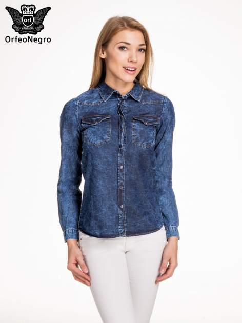 Granatowa marmurkowa koszula z jeansu