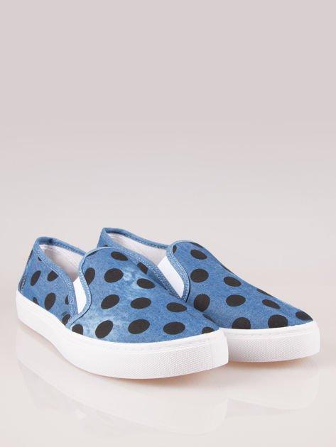 Granatowe buty slip on w groszki