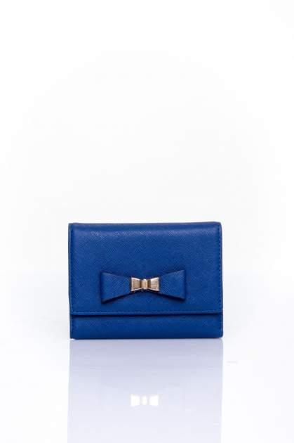 Granatowy portfel z kokardką