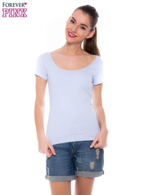 Jasnoniebieski gładki t-shirt z marszczeniem z tyłu