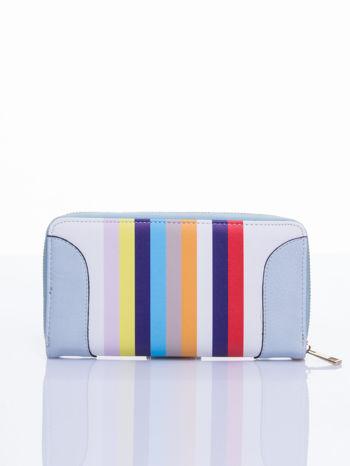Jasnoniebieski portfel w paski z kieszonką