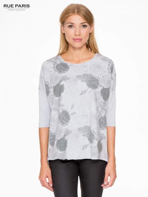 Jasnoszara bluza oversize z nadrukiem kwiatowym