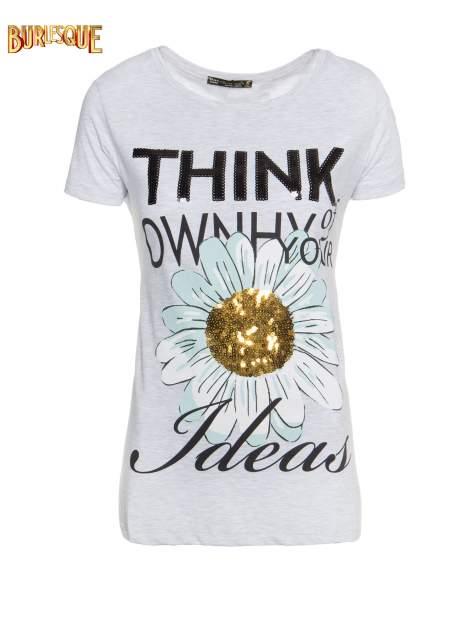 Jasnoszary t-shirt z nadrukiem stokrotki z dżetami