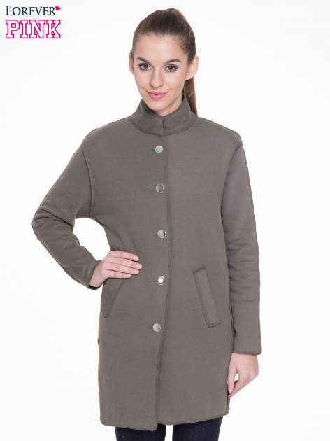 Khaki dresowy płaszcz o kroju oversize