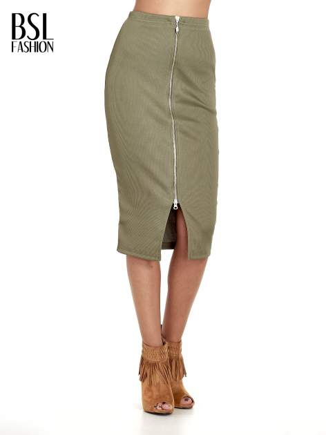 Khaki spódnica midi z suwakiem z przodu