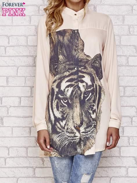 Koralowa długa koszula z nadrukiem tygrysa