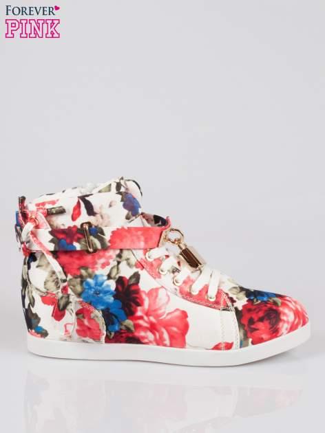 Kwiatowe sneakersy damskie ze złotą kłódką