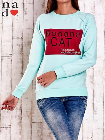 Miętowa bluza z napisem BODDHA CAT