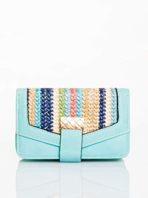 Miętowy portfel z plecionką
