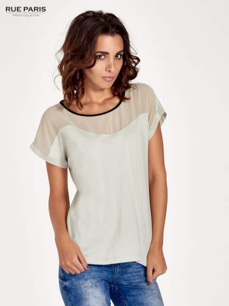Miętowy t-shirt z siateczkową górą i kontrastową lamówką