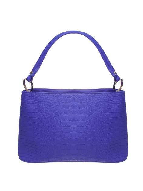 Niebieska torebka na ramię tłoczona na wzór skóry krokodyla