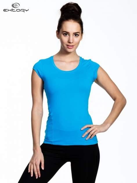 Niebieski damski t-shirt sportowy basic