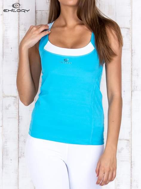 Niebieski gładki sportowy top z ramiączkami w paski