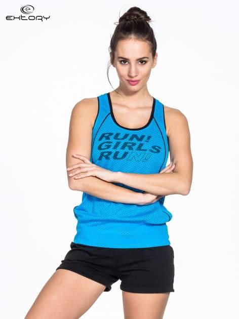 Niebieski siatkowy top sportowy z napisem RUN GIRLS RUN