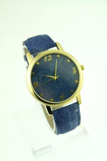 Niebieski zegarek damski z imitacją jeansu na skórzanym pasku