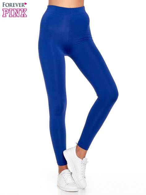 Niebieskie legginsy basic z lekkim ociepleniem