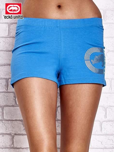 Niebieskie szorty z nadrukiem