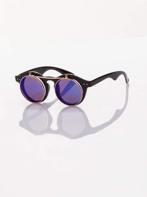 Niebiesko-czarne okulary przeciwsłoneczne w stylu vintage retro lustrzanki
