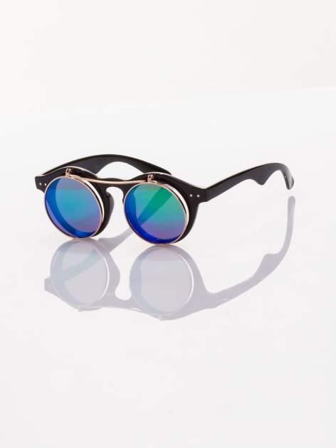 Otwierane okulary przeciwsłoneczne w stylu vintage retro lustrzanki