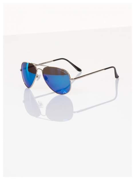 Policyjne niebieskie okulary pilotki lustrzanki dla kierowcy POLARYZACJA+GRATISY