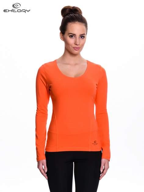 Pomarańczowa bluzka sportowa z dekoltem V