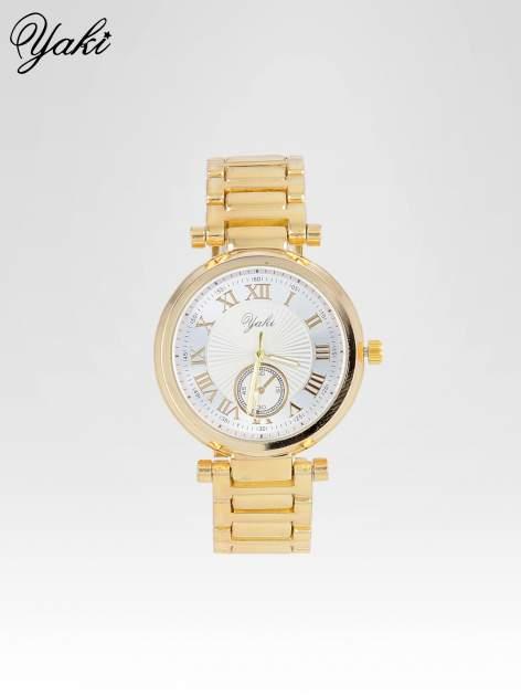 Prosty złoty zegarek damski na bransolecie z białą tarczą