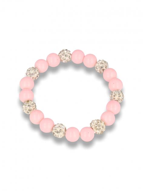 Różowa Bransoletka koralikowa z kulkami schamballa