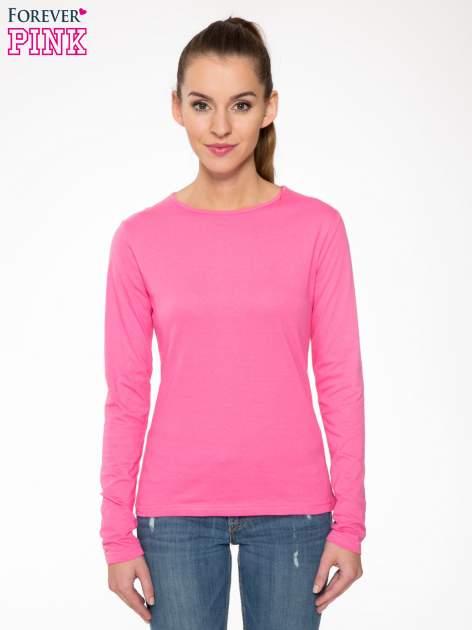 Różowa bawełniana bluzka typu basic z długim rękawem