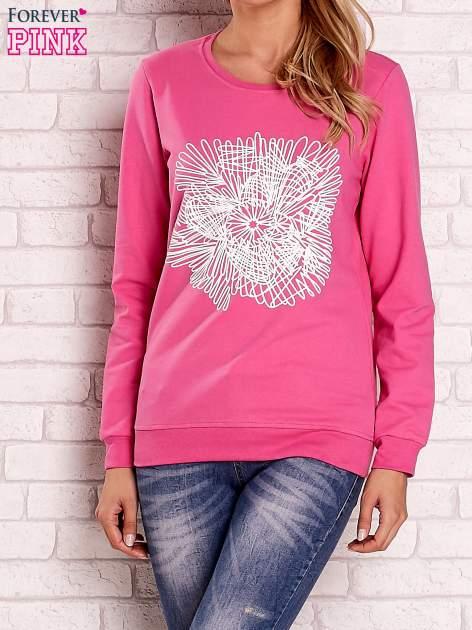 Różowa bluza z kolorowym nadrukiem