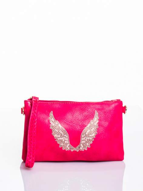 Różowa kopertówka z dżetami motyw skrzydeł