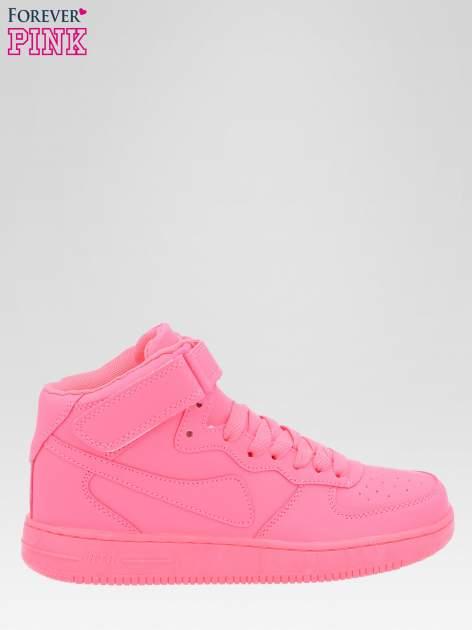 Różowe buty sportowe za kostkę na grubej podeszwie