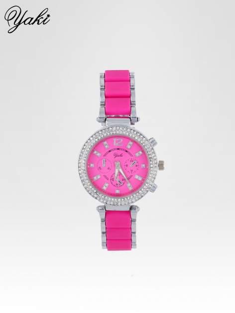 Różowy zegarek na bransolecie z cyrkoniami na tarczy