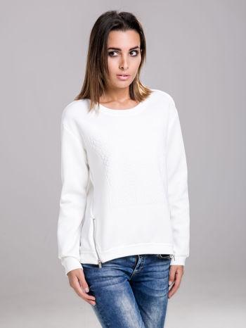 STRADIVARIUS Biała bluza fakturowana z zamkami