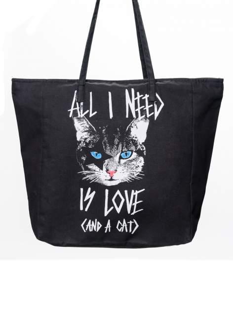 STRADIVARIUS Czarna torebka shopper bag z nadrukiem kota
