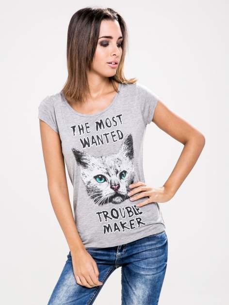 STRADIVARIUS Szary t-shirt z nadrukiem kotka