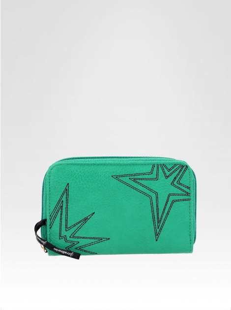 STRADIVARIUS Zielony portfel z nadrukiem gwiazd