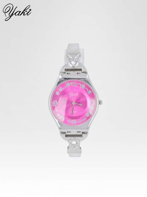 Srebrny biżuteryjny zegarek damski z różową tarczą